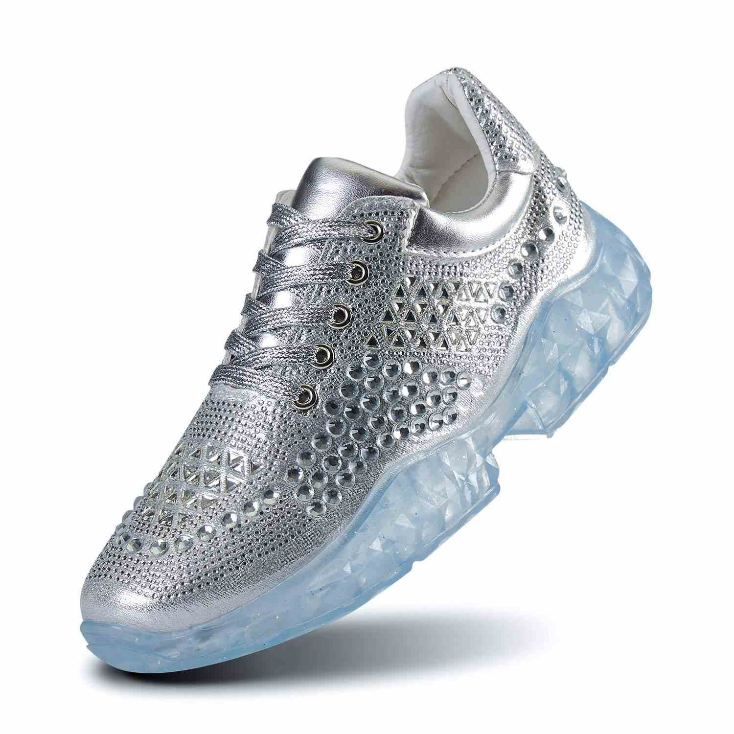 Women Walking Sneakers Crystal Rhinestone Platform Fashion Casual Shoes