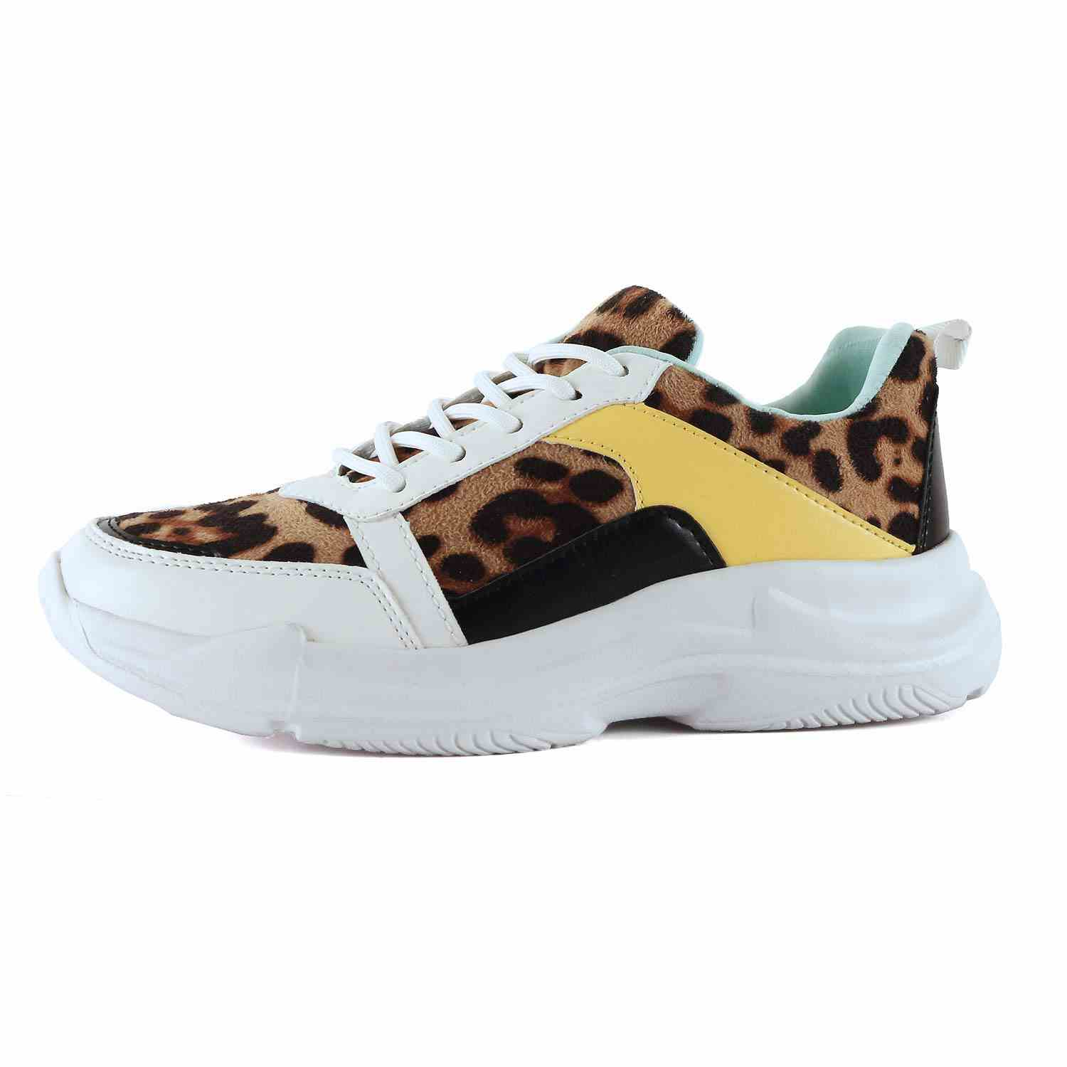 Womens Retro Multimaterial Daddy Colorblock High Platform Fashion Comfortable Sneakers