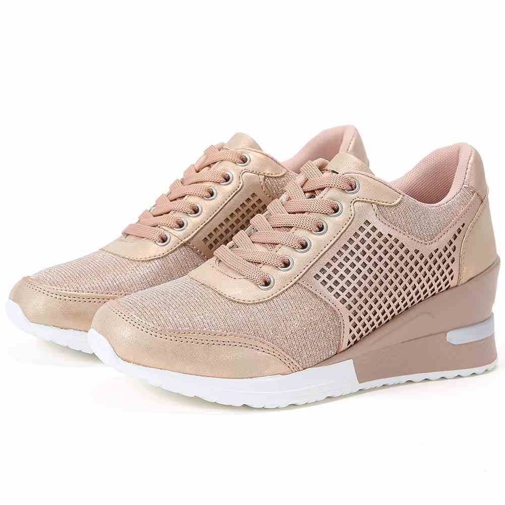 High Heeld Wedge Sneakers for Women - Ladies Hidden Sneakers Lace Up Shoes